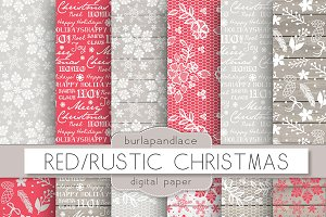 Red/Rustic christmas digital paper