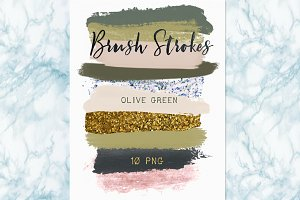 Brush strokes clipart. Olive green.