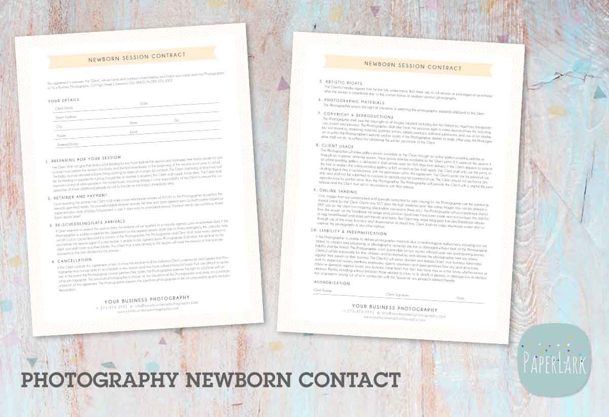 Ng040 Photography Newborn Contract Stationery Templates Creative