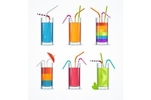 Cocktail Glass Template Drink Set