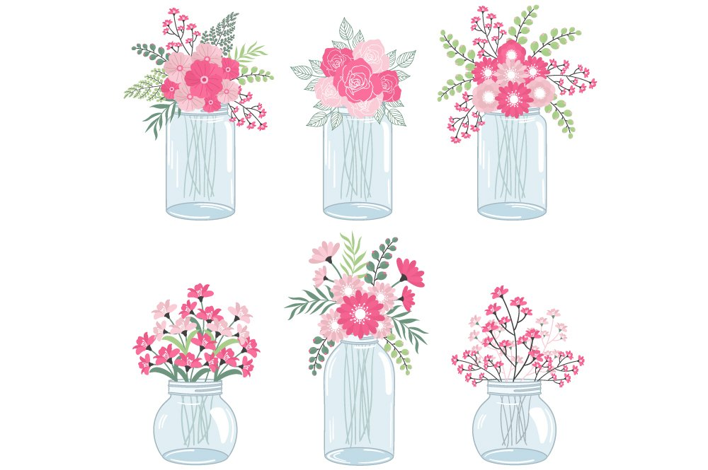 Pink Flowers in Mason Jars ~ Illustrations ~ Creative Market
