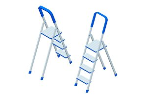 Isometric vector stepladder isolated on white. Aluminum ladder. Ladder for workers, painters, engineers, repairman