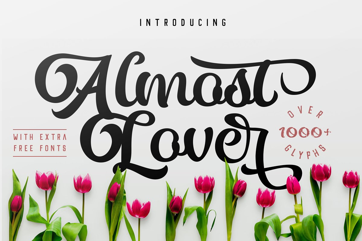 2219f6a5c383 Almost Lover + Free Fonts Bonus ~ Script Fonts ~ Creative Market