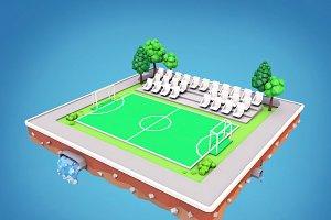 Cartoon Football Field Low Poly 3D