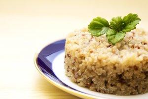 Quinoa dish on wooden table