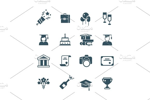 Student Achievement And High School Graduation Vector Icons