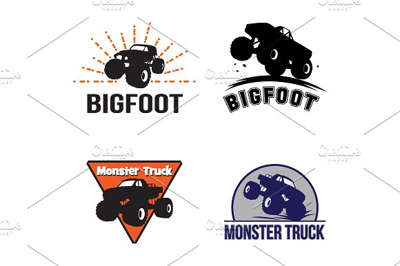 4 Monster Truck Bigfoot Logo Symbol