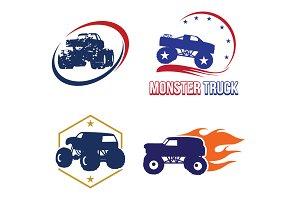 4 Bigfoot Monster Truck Logo Symbol