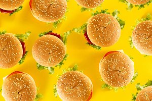 Fast Food Tasty Pattern Hamburgers