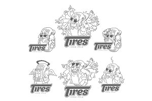 Cartoon tires logo template