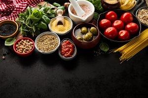 Food Concept. Food Ingredients Above