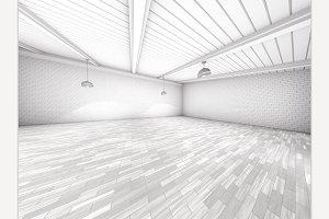 Simple empty room interior