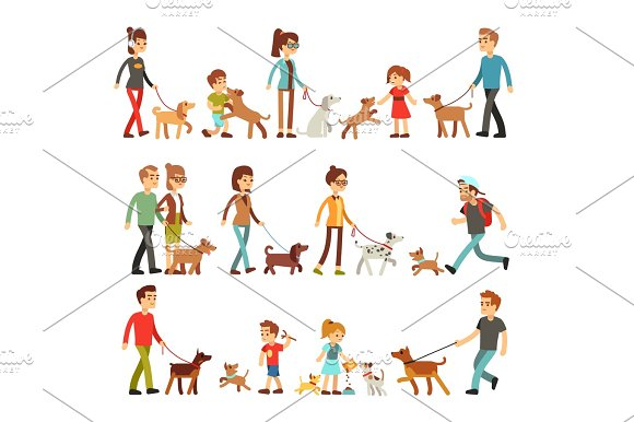 Happy People With Pets Women Men And Children Playing With Dogs And Puppes