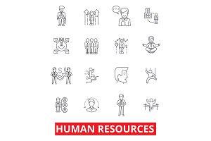 Human resources, people, hiring employee, hr organization, marketing, management line icons. Editable strokes. Flat design vector illustration symbol concept. Linear signs isolated on white background