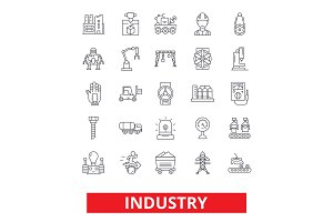 Industry, factory, manufacturing, assembly, engineering, industrial plant worker line icons. Editable strokes. Flat design vector illustration symbol concept. Linear signs isolated on white background
