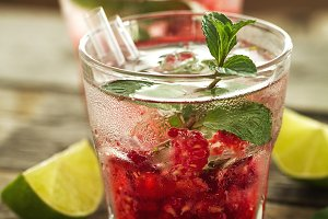 Tasty cold refreshing drink with ice