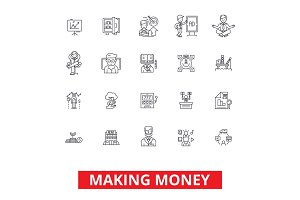 Making money, financial savings, business success, investment, finance income line icons. Editable strokes. Flat design vector illustration symbol concept. Linear signs isolated on white background