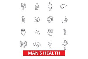 Mens health, healthy fitness lifestyle, active sport man, urology, cardiology line icons. Editable strokes. Flat design vector illustration symbol concept. Linear signs isolated on white background