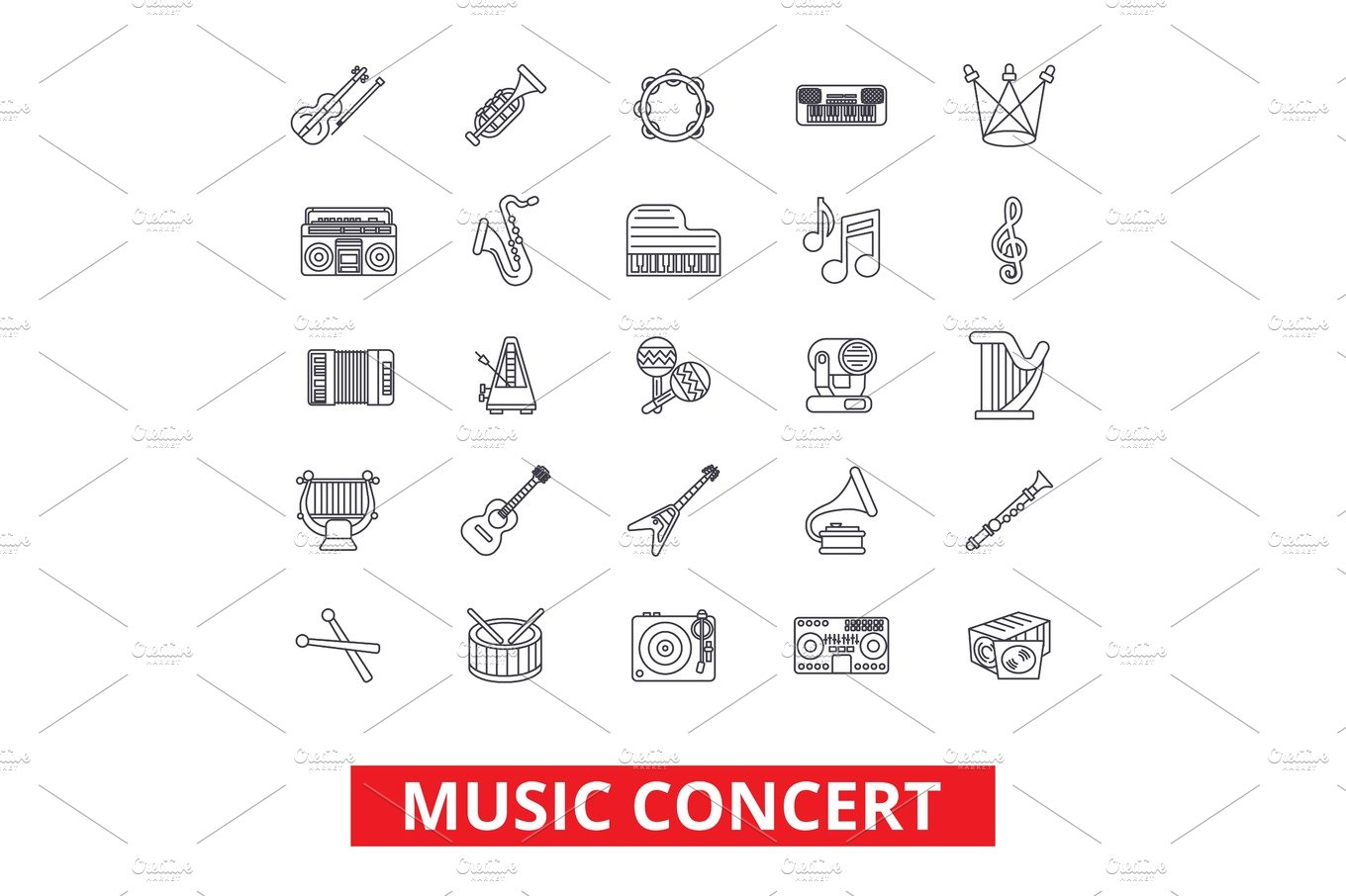 Musical instruments and symbols illustrations creative market music concerts guitar piano dj party drums instruments notes biocorpaavc Gallery