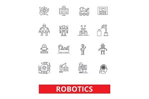 Robotics, android, cyborg, robot, factory, industrial plant, future technology line icons. Editable strokes. Flat design vector illustration symbol concept. Linear signs isolated on white background