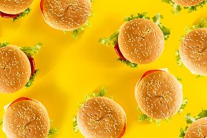 Pattern Fast Food Tasty Hamburgers