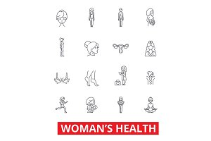 Womens health, fitness healthy woman, breast, obstetrics, legs, gynecology, diet line icons. Editable strokes. Flat design vector illustration symbol concept. Linear signs isolated on white background