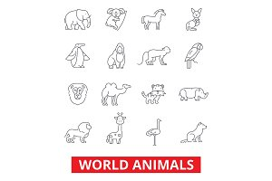 World animals, giraffe, zebra, zoo parrot, hippo, pets, fox, monkey, tiger, bird line icons. Editable strokes. Flat design vector illustration symbol concept. Linear signs isolated on white background