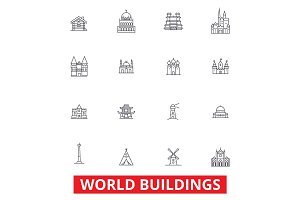 World buildings, pagoda, cottage, villa, mansion, church, temple, real estate line icons. Editable strokes. Flat design vector illustration symbol concept. Linear signs isolated on white background