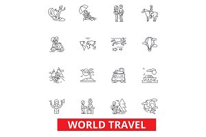 World travel, winter tourism, skiing, diving, flight, summer beach vacation line icons. Editable strokes. Flat design vector ill