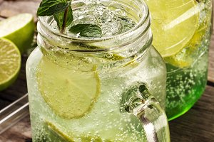 Tasty cold fresh drink with mint