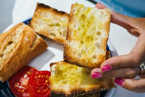 Female hand with toast