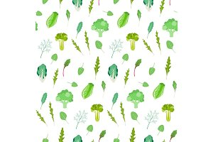 Salad greens and leafy vegetables pattern.