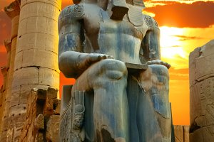 Statue of Ramesses II at sunset.
