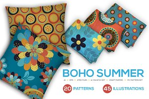 Boho Summer Seamless Vector Patterns