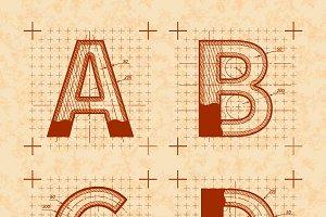 Medieval inventor sketches font