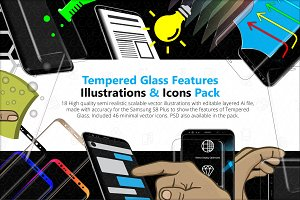 Tempered Glass Feature Icons Pack