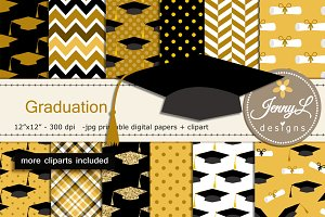 Graduation Digital Papers & Clipart