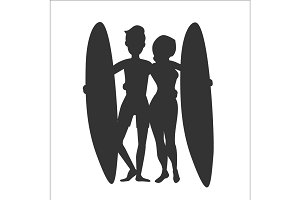 Silhouette of two surfers