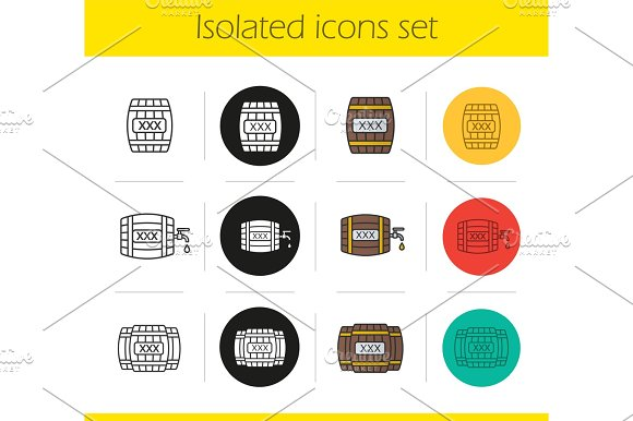 Alcohol Wooden Barrels Icons Set