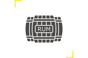 Rum wooden barrels glyph icon
