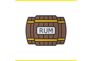 Rum wooden barrels color icon