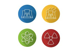 Atomic energy flat linear long shadow icons set