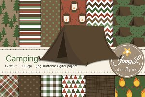 Camping Digital Papers & Clipart