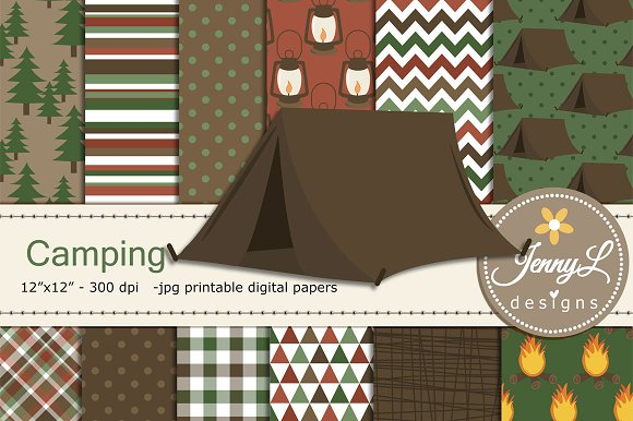 Camping Digital Papers Clipart