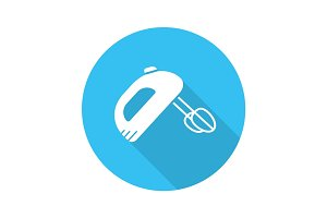 Hand mixer flat design long shadow icon