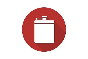 Hip flask flat design long shadow icon