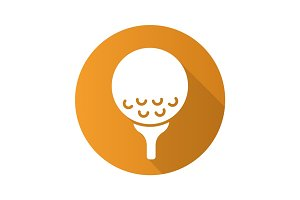 Golf ball on tee. Flat design long shadow icon