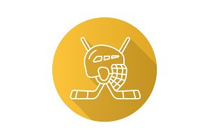 Hockey game equipment. Flat linear long shadow icon