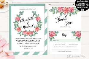 Watercolor Roses Wedding Invitation