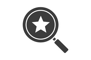 Magnifying glass with star glyph icon